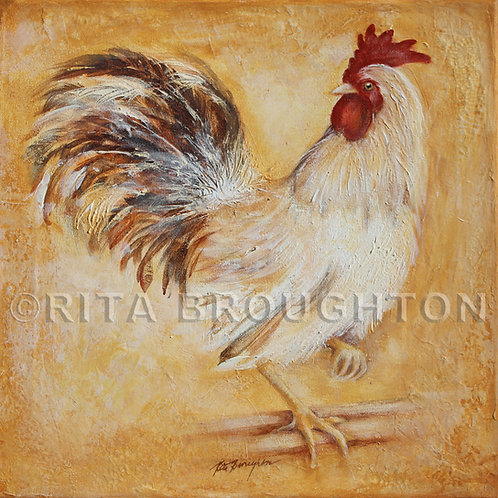 """Original Painting """"French White Rooster"""""""