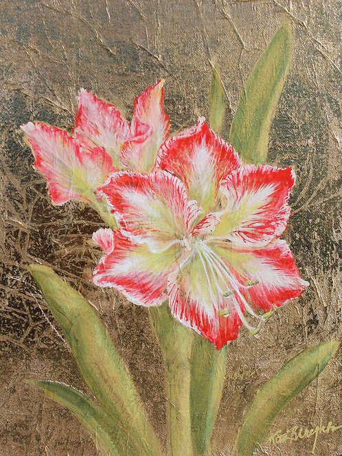 "Original Painting ""Golden Amaryllis I"""