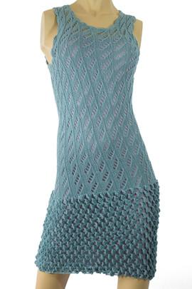 Handmade Knit Crochet Dress, Pima/Silk