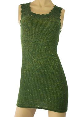Knit Crochet Detail Green Dress