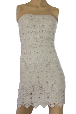 Strapless Handmade Knit Fabric White
