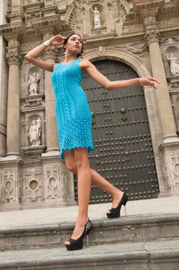 Handmade Knit Turquoise Dress