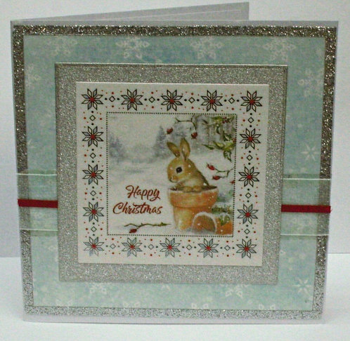 Bunny In Pot With Ribbon