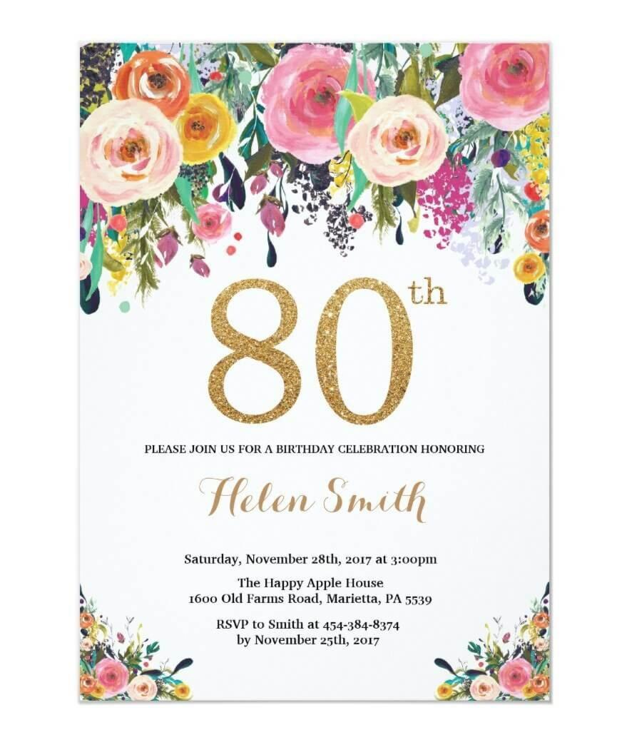 80th birthday invites