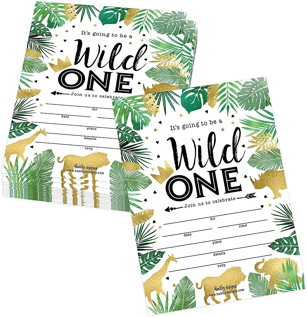 Wild One birthday invitations