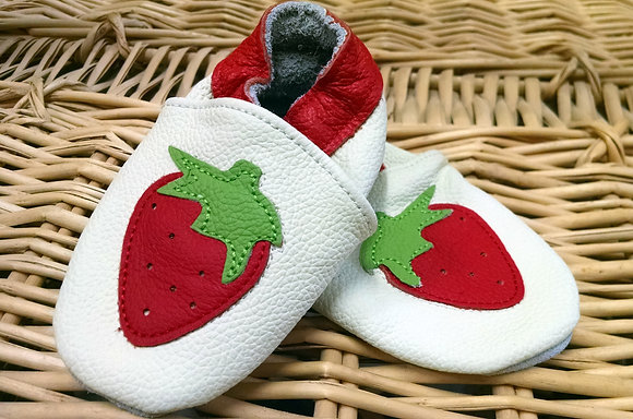 Strawberry Leather Baby Moccasins