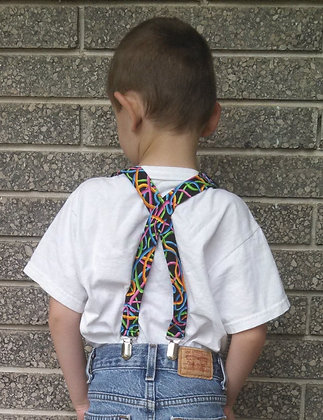 Bright Squiggle Suspenders - Cotton