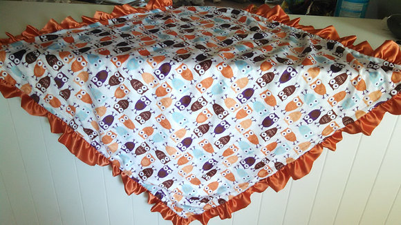 Owl with Orange Satin Ruffle Minky Baby Blanket