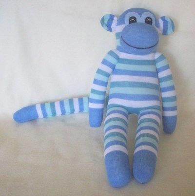 Blue Stripe Sock Monkey