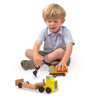 Trailer & Excavator Wooden Vehicles Play Set MD4577