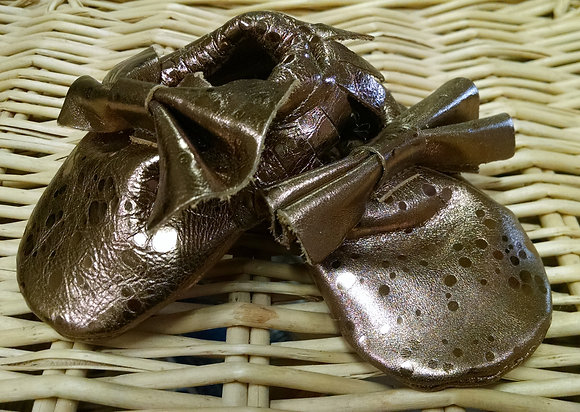 Copper Leather Baby Moccasins