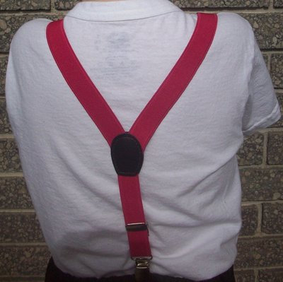 Solid Hot Pink Suspenders - Elastic