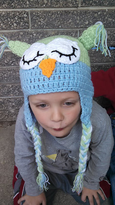 Green & Blue Sleeping Owl Crochet Hat