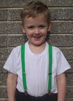 Solid Green Suspenders - Elastic