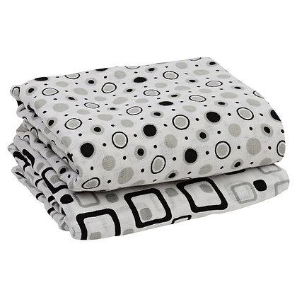 Black & Gray Muslin Blankets