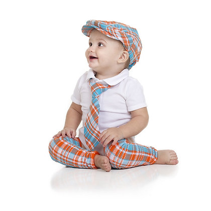 Tropical Tangerine Cabbie Hat, Tie & Leg Warmer Set