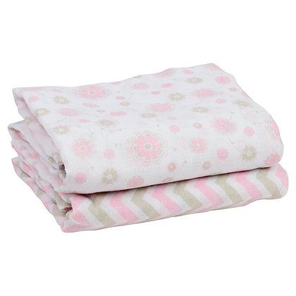 Lovely Lilah Chevron & Flowers Muslin Blankets