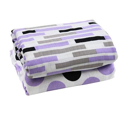 Midnight Lilac Muslin Blankets