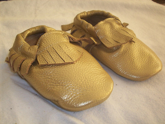 Dark Gold Leather Baby Moccasins