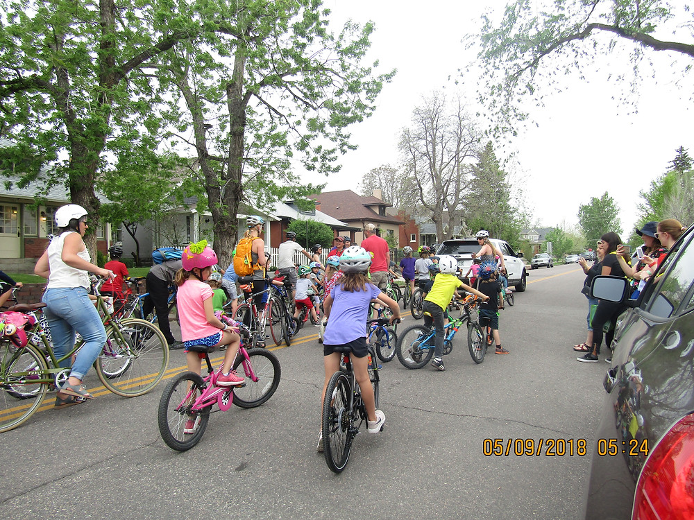 Lining up for the Family Street Ride, escorted by Denver Police Department