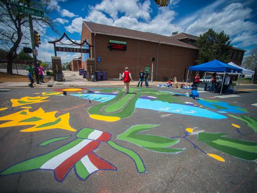 New Neighborhood Mural painted by Athmar Park community members outside Valverde Elementary