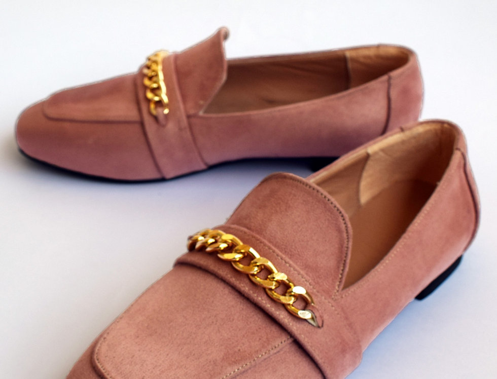 Rectangular Gold Loafers