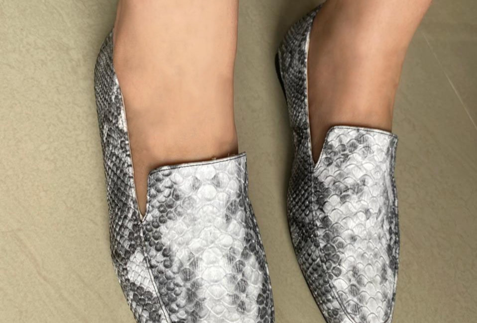 Snake power square-toe loafers