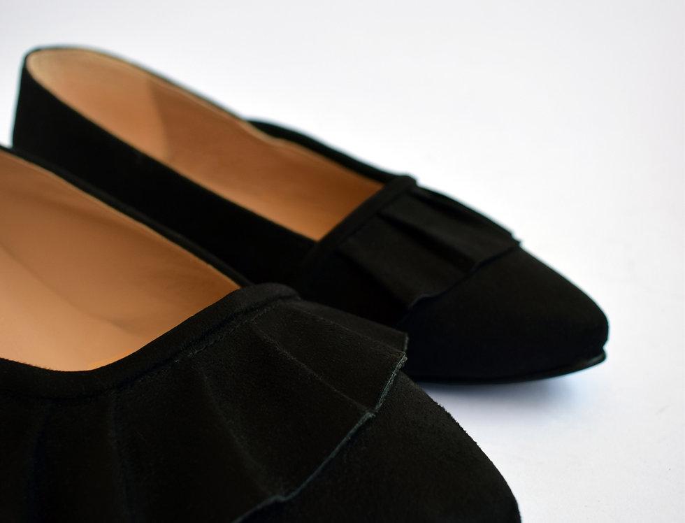 Black Ruffled Pointed Slip-on