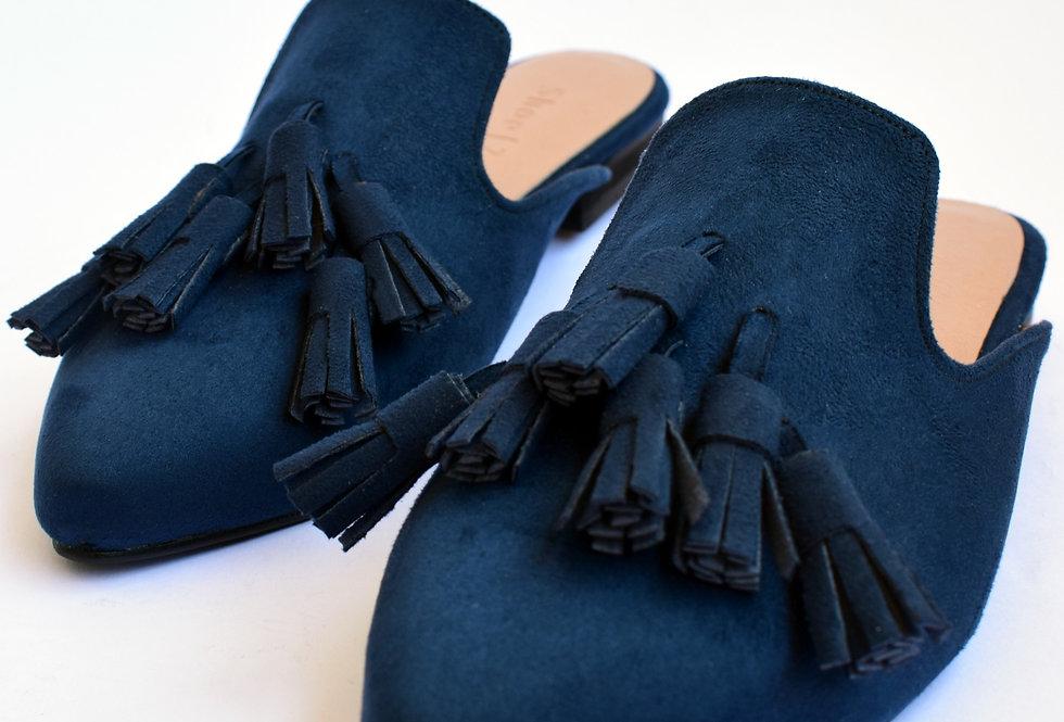 Navy Blue Tasseled Mules