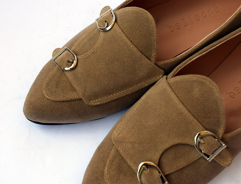 Double Monk Strap Suede Slip-on