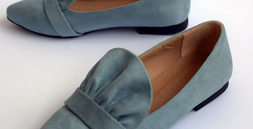 Baby Blue Coral Loafers Slip-on