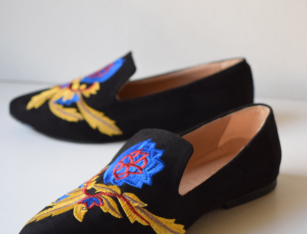 Black Embroidered Pointed Loafers