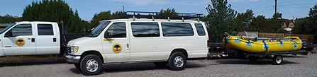 Van pulling Inflated Raft