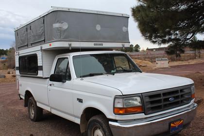 Custom vinyl repair inside & out of pop-up camper
