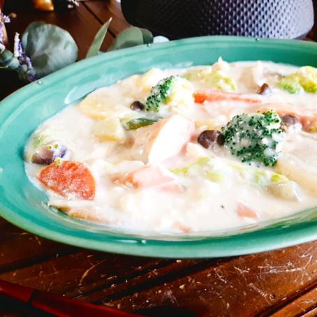 鮭の和風豆乳クリームシチュー
