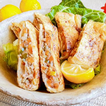 お揚げの野菜たっぷり肉詰め焼き