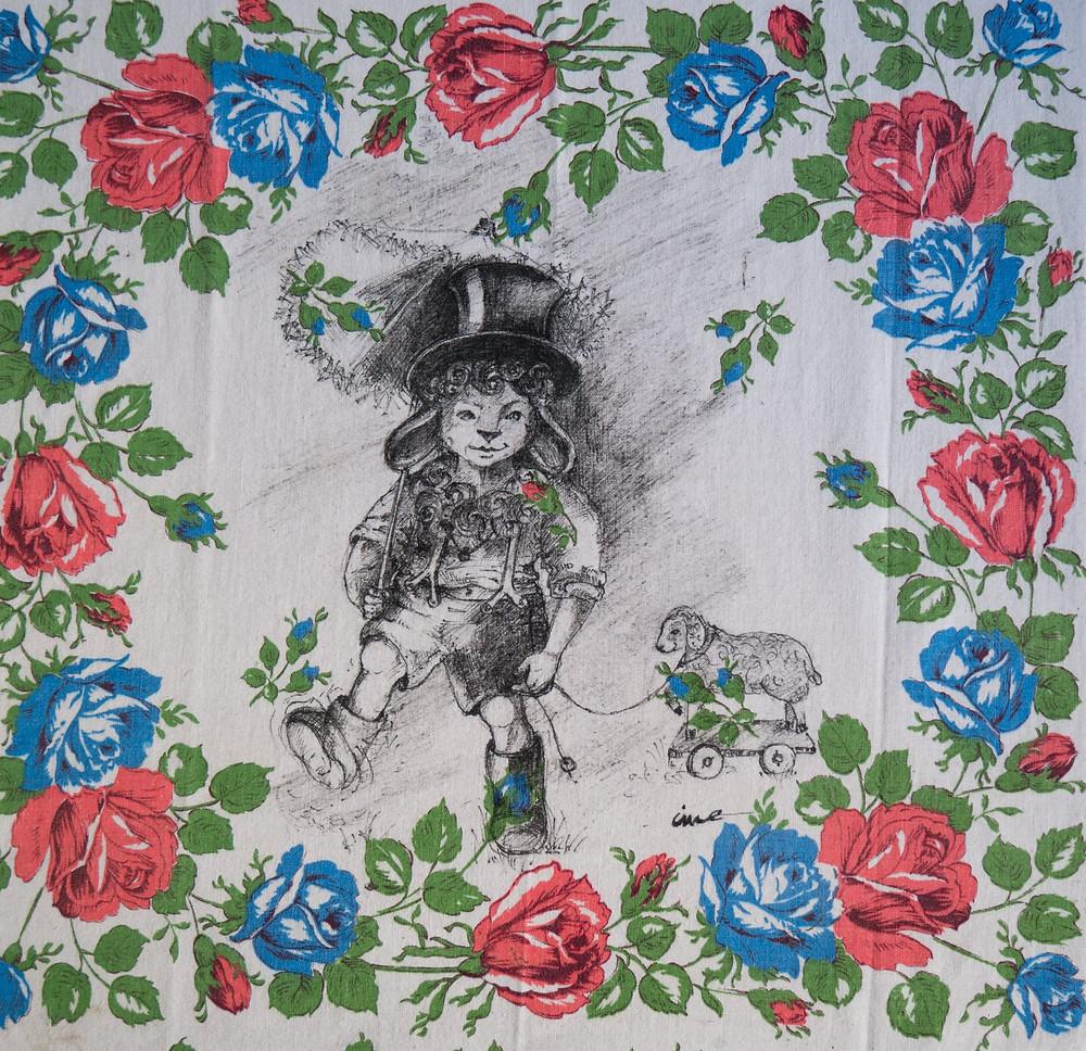 Agneau, encre de chine sur tissus, Isabelle Moulis, Artiste Peintre, La Rochelle