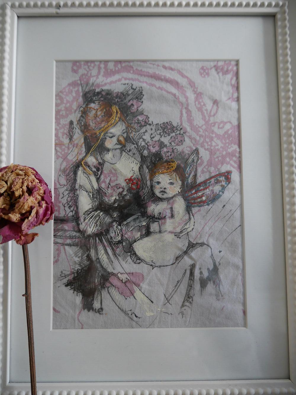 Encre de chine sur tissus, photos de famille, Isabelle Moulis, Artiste peintre, La Rochelle