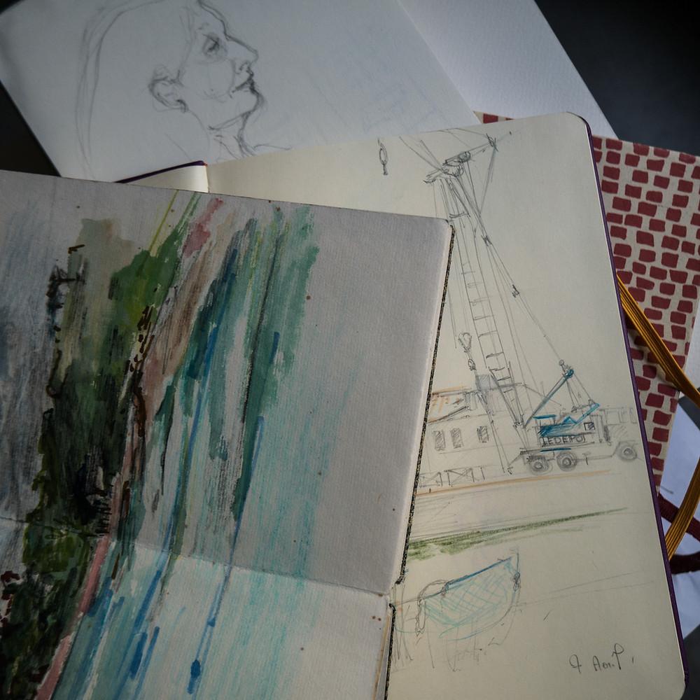 Différents carnets de croquis, Isabelle Moulis, Artiste Peintre, La Rochelle