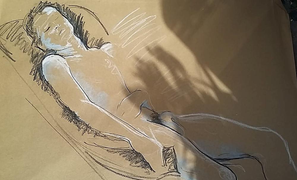 Croquis de nu, Isabelle Moulis, Artiste Peintre, La Rochelle