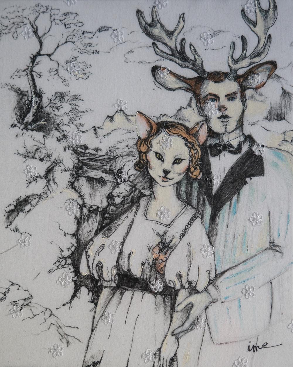 Dentelles anglaise, Isabelle Moulis, Artiste Peintre, La Rochelle, cerfs
