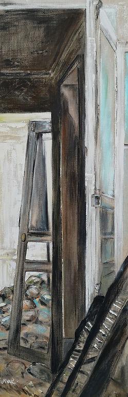 Isabelle Moulis, artiste peintre de La Rochelle. Porte sur... est un tableau de sa série sur les lieux abandonnés de sa signature ime.
