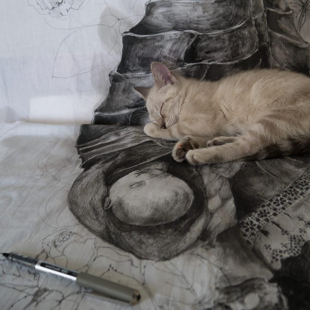 Artiste Peintre, La Rochelle, Isabelle Moulis, Chat, Encre de chine sur tissus