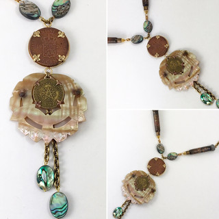 Vintage Mother of Pearl & Coin Necklace - $175