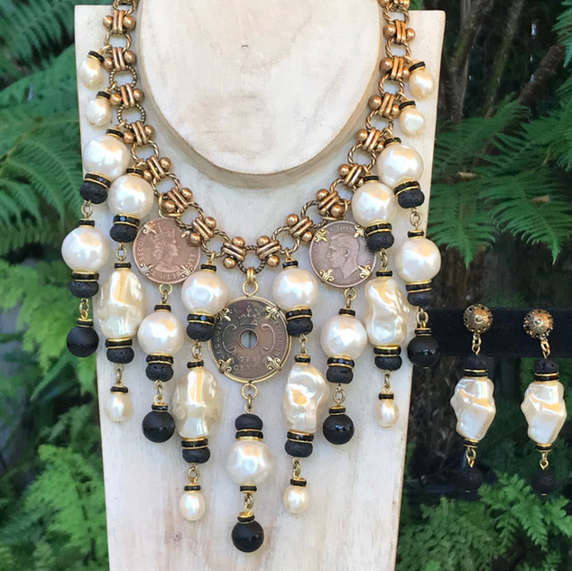 Coin/Pearl Bib Necklace & Earrings - $440