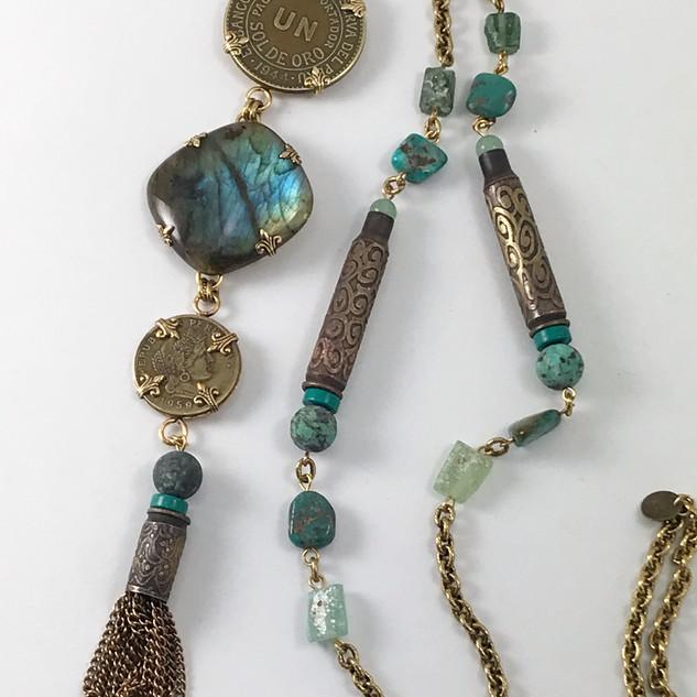Vintage Coins & Labradorite Necklace - $160