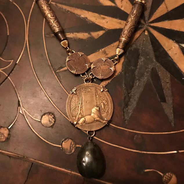French Bronze Medallion Necklace - $190