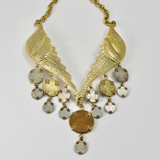 Wing Necklace with Vintage Coins - $300