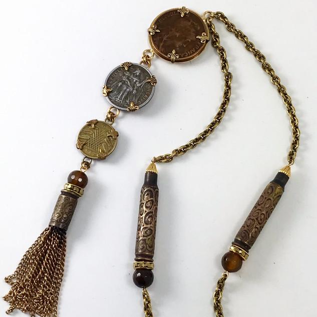 Vintage Coin Tassel Necklace - $150