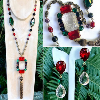 Carved Lucite/Jewel Tone Necklace & Earrings - $370